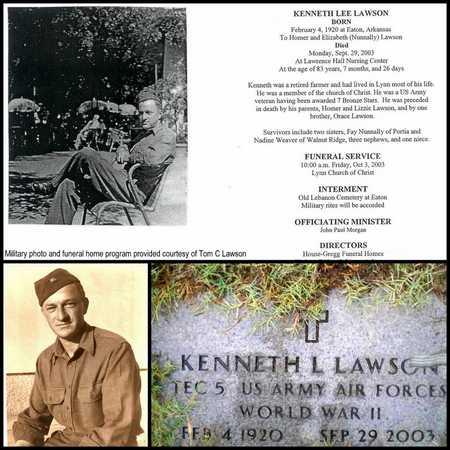 LAWSON (VETERAN WWII), KENNETH LEE - Lawrence County, Arkansas | KENNETH LEE LAWSON (VETERAN WWII) - Arkansas Gravestone Photos