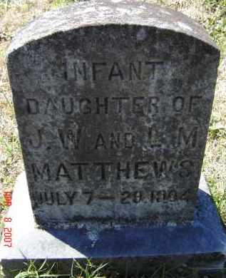MATTHEWS, INFANT DAUGHTER - Lawrence County, Arkansas   INFANT DAUGHTER MATTHEWS - Arkansas Gravestone Photos