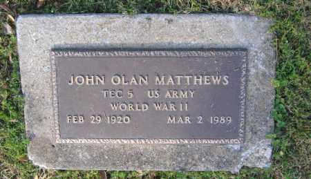 MATTHEWS (VETERAN WWII), JOHN OLAN - Lawrence County, Arkansas   JOHN OLAN MATTHEWS (VETERAN WWII) - Arkansas Gravestone Photos