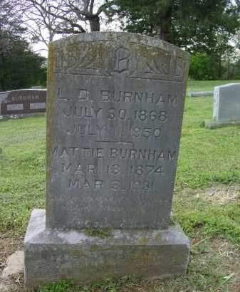 BURNHAM, MATTIE BLANCHE - Logan County, Arkansas   MATTIE BLANCHE BURNHAM - Arkansas Gravestone Photos