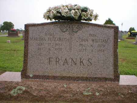 FRANKS, MARTHA ELIZABETH - Logan County, Arkansas | MARTHA ELIZABETH FRANKS - Arkansas Gravestone Photos