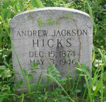 HICKS, ANDREW JACKSON - Logan County, Arkansas | ANDREW JACKSON HICKS - Arkansas Gravestone Photos