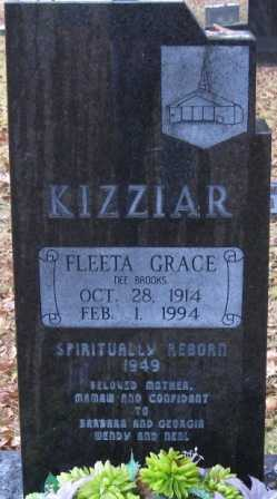 KIZZIAR, FLEETA GRACE - Logan County, Arkansas | FLEETA GRACE KIZZIAR - Arkansas Gravestone Photos