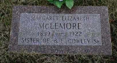 COWLEY MCLEMORE, MARGARET ELIZABETH - Logan County, Arkansas | MARGARET ELIZABETH COWLEY MCLEMORE - Arkansas Gravestone Photos
