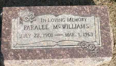 MCWILLIAMS, PARALEE - Logan County, Arkansas | PARALEE MCWILLIAMS - Arkansas Gravestone Photos