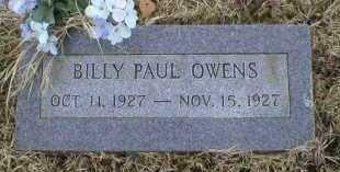 OWENS, BILLY PAUL - Logan County, Arkansas | BILLY PAUL OWENS - Arkansas Gravestone Photos