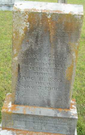 PLUNKETT, MARY AGATHA - Logan County, Arkansas | MARY AGATHA PLUNKETT - Arkansas Gravestone Photos