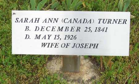 CANADA TURNER, SARAH ANN - Logan County, Arkansas | SARAH ANN CANADA TURNER - Arkansas Gravestone Photos