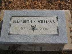 WILLIAMS, ELIZABETH K. - Logan County, Arkansas   ELIZABETH K. WILLIAMS - Arkansas Gravestone Photos
