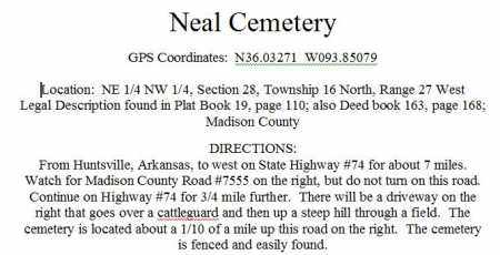 *NEAL CEMETERY DIRECTIONS,  - Madison County, Arkansas    *NEAL CEMETERY DIRECTIONS - Arkansas Gravestone Photos