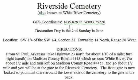 * DIRECTIONS TO RIVERSIDE CEME, . - Madison County, Arkansas | . * DIRECTIONS TO RIVERSIDE CEME - Arkansas Gravestone Photos