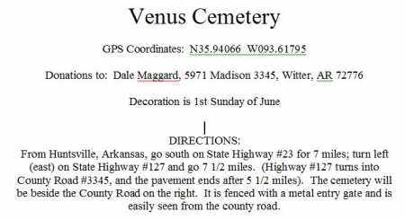 *A DIRECTIONS TO VENUS CEMETER, . - Madison County, Arkansas | . *A DIRECTIONS TO VENUS CEMETER - Arkansas Gravestone Photos