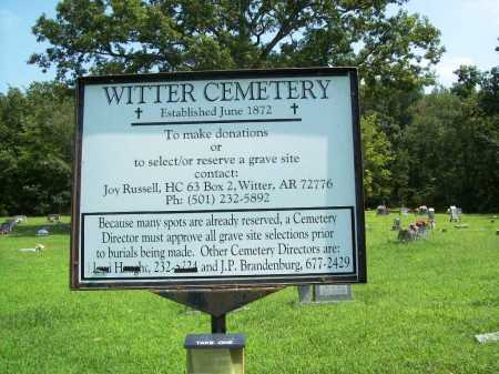 *WITTER CEMETERY SIGN,  - Madison County, Arkansas |  *WITTER CEMETERY SIGN - Arkansas Gravestone Photos
