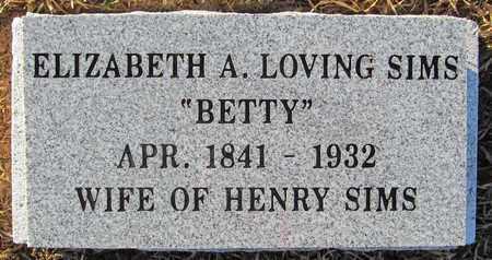 "LOVING SIMS, ELIZABETH A. ""BETTY"" - Madison County, Arkansas | ELIZABETH A. ""BETTY"" LOVING SIMS - Arkansas Gravestone Photos"