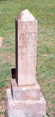 RICE, ALFRED FRANCIS - Marion County, Arkansas | ALFRED FRANCIS RICE - Arkansas Gravestone Photos