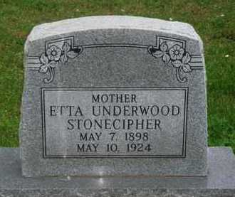 UNDERWOOD STONECIPHER, ETTA - Marion County, Arkansas | ETTA UNDERWOOD STONECIPHER - Arkansas Gravestone Photos