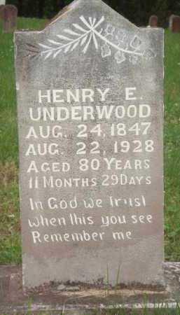 UNDERWOOD, HENRY E. - Marion County, Arkansas | HENRY E. UNDERWOOD - Arkansas Gravestone Photos