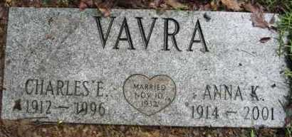 VAVRA, CHARLES E. - Marion County, Arkansas | CHARLES E. VAVRA - Arkansas Gravestone Photos