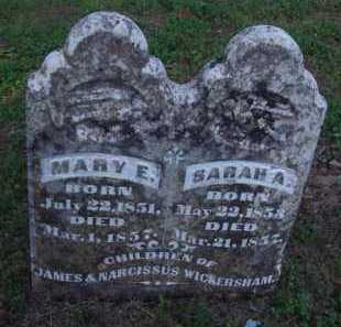 WICKERSHAM, SARAH A. - Marion County, Arkansas   SARAH A. WICKERSHAM - Arkansas Gravestone Photos