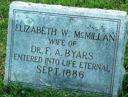 MCMILLAN BYARS, ELIZABETH W. - Miller County, Arkansas | ELIZABETH W. MCMILLAN BYARS - Arkansas Gravestone Photos