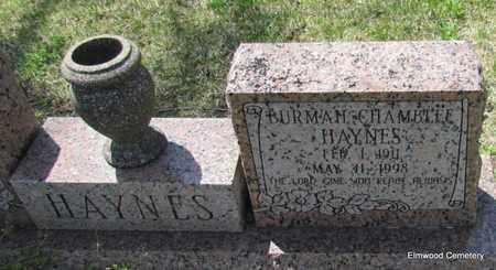 HAYNES, BURMAH (CLOSE UP) - Mississippi County, Arkansas   BURMAH (CLOSE UP) HAYNES - Arkansas Gravestone Photos