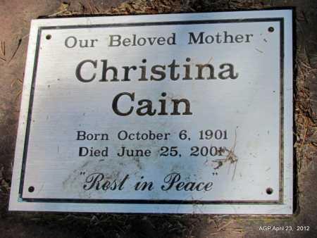 CAIN, CHRISTINA - Monroe County, Arkansas   CHRISTINA CAIN - Arkansas Gravestone Photos