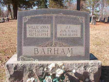 BARHAM, WILLIE ANNA - Nevada County, Arkansas | WILLIE ANNA BARHAM - Arkansas Gravestone Photos