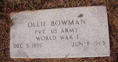 BOWMAN (VETERAN WWI), OLLIE - Nevada County, Arkansas | OLLIE BOWMAN (VETERAN WWI) - Arkansas Gravestone Photos
