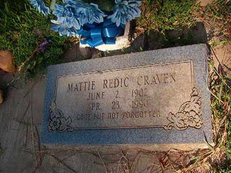 REDIC CRAVEN, MATTIE - Nevada County, Arkansas | MATTIE REDIC CRAVEN - Arkansas Gravestone Photos