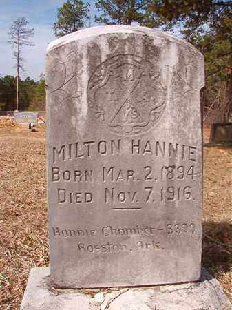 HANNIE, MILTON - Nevada County, Arkansas | MILTON HANNIE - Arkansas Gravestone Photos