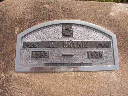 HAYNIE, ALF - Nevada County, Arkansas   ALF HAYNIE - Arkansas Gravestone Photos