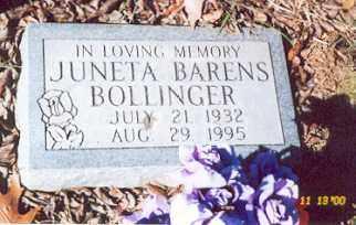 BARENS BOLLINGER, RETHA JUNETA - Newton County, Arkansas   RETHA JUNETA BARENS BOLLINGER - Arkansas Gravestone Photos