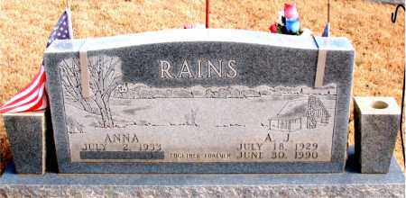 RAINS, A. J. - Newton County, Arkansas | A. J. RAINS - Arkansas Gravestone Photos