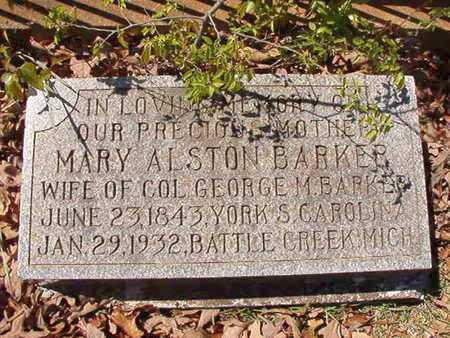 ALSTON BARKER, MARY - Ouachita County, Arkansas   MARY ALSTON BARKER - Arkansas Gravestone Photos