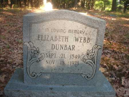 WEBB DUNBAR, ELIZABETH - Ouachita County, Arkansas | ELIZABETH WEBB DUNBAR - Arkansas Gravestone Photos