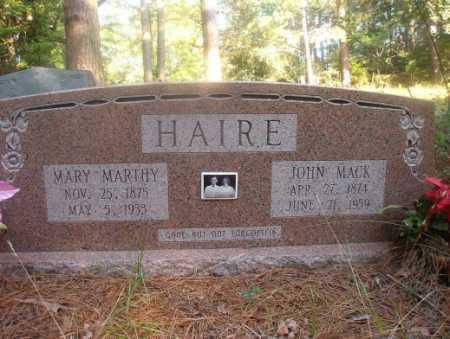 HAIRE, JOHN MACK - Ouachita County, Arkansas | JOHN MACK HAIRE - Arkansas Gravestone Photos
