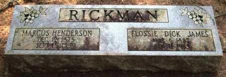 "JAMES RICKMAN, FLOSSIE ""DICK"" - Perry County, Arkansas | FLOSSIE ""DICK"" JAMES RICKMAN - Arkansas Gravestone Photos"