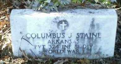 STAINE  (VETERAN WWI), COLUMBUS J - Perry County, Arkansas | COLUMBUS J STAINE  (VETERAN WWI) - Arkansas Gravestone Photos