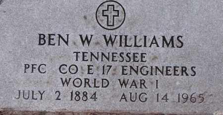 WILLIAMS  (VETERAN WWI), BEN W - Poinsett County, Arkansas   BEN W WILLIAMS  (VETERAN WWI) - Arkansas Gravestone Photos