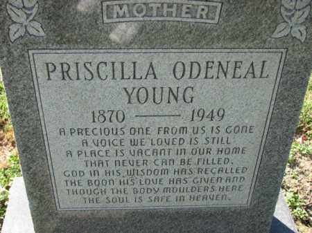 ODENEAL YOUNG, PRISCILLA - Poinsett County, Arkansas   PRISCILLA ODENEAL YOUNG - Arkansas Gravestone Photos