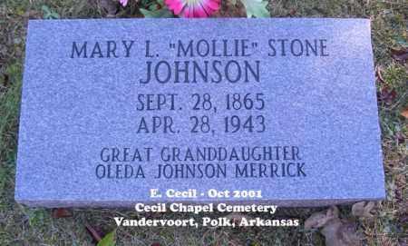 "JOHNSON, MARY L. ""MOLLIE"" - Polk County, Arkansas | MARY L. ""MOLLIE"" JOHNSON - Arkansas Gravestone Photos"