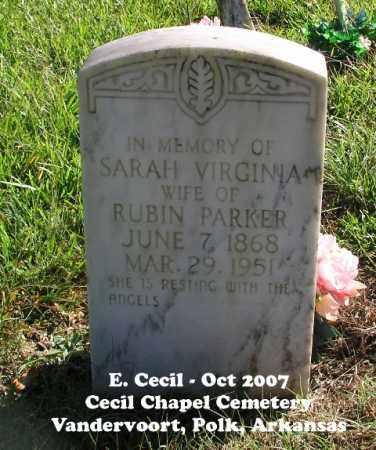 PARKER, SARAH VIRGINIA - Polk County, Arkansas   SARAH VIRGINIA PARKER - Arkansas Gravestone Photos
