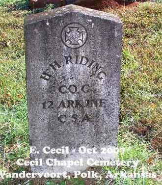 RIDING (VETERAN CSA), H H - Polk County, Arkansas | H H RIDING (VETERAN CSA) - Arkansas Gravestone Photos