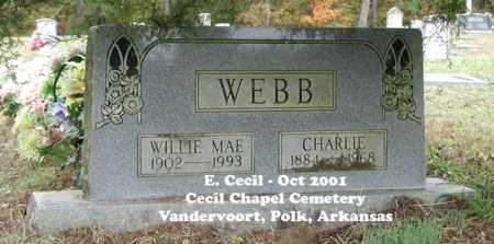 WEBB, CHARLIE ULYSSES - Polk County, Arkansas | CHARLIE ULYSSES WEBB - Arkansas Gravestone Photos
