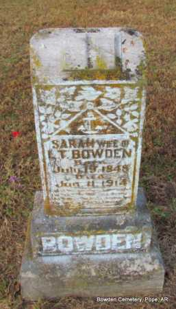 JOBE BOWDEN, SARAH - Pope County, Arkansas | SARAH JOBE BOWDEN - Arkansas Gravestone Photos