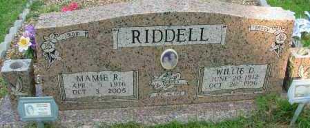 RIDDELL, WILLIE D - Pope County, Arkansas   WILLIE D RIDDELL - Arkansas Gravestone Photos