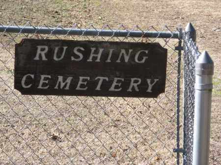 *RUSHING CEMETERY SIGN,  - Pope County, Arkansas |  *RUSHING CEMETERY SIGN - Arkansas Gravestone Photos