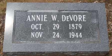 DEVORE, ANNIE W - Prairie County, Arkansas | ANNIE W DEVORE - Arkansas Gravestone Photos