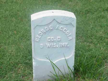 ACCOLA (VETERAN UNION), GEORGE - Pulaski County, Arkansas | GEORGE ACCOLA (VETERAN UNION) - Arkansas Gravestone Photos