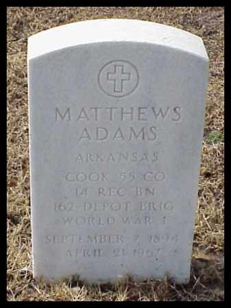 ADAMS (VETERAN WWI), MATTHEWS - Pulaski County, Arkansas | MATTHEWS ADAMS (VETERAN WWI) - Arkansas Gravestone Photos